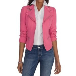 White House Black Market Pink Moto Jacket